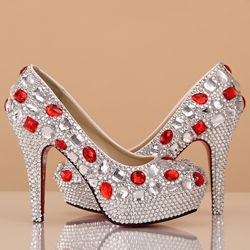ФОТО Custom Made Wedding Dress Shoes Rhinestone 4 Inches Heel Silver Bridal Shoes Gorgeous Prom Shoes Bridesmaid Shoes