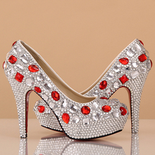 Custom Made Wedding Dress Shoes Rhinestone 4 Inches Heel Silver Bridal Shoes Gorgeous Prom Shoes Bridesmaid Shoes