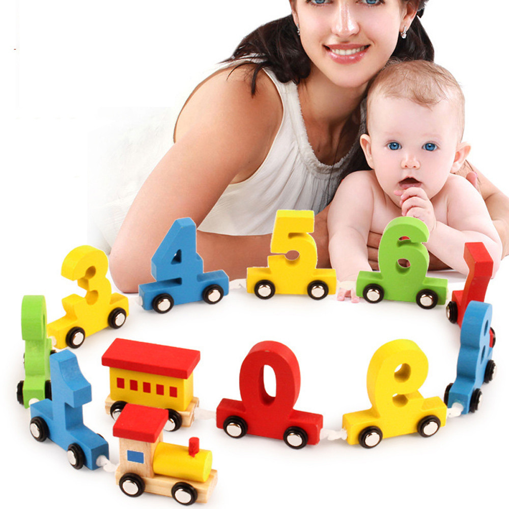 Hot Sale Kids Baby Wooden Train Wooden Number Learning ...