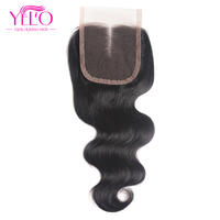Yelo Peruvian Body Wave Lace Closure Middle Part Non Remy Hair Closure Swiss Lace 100 Human
