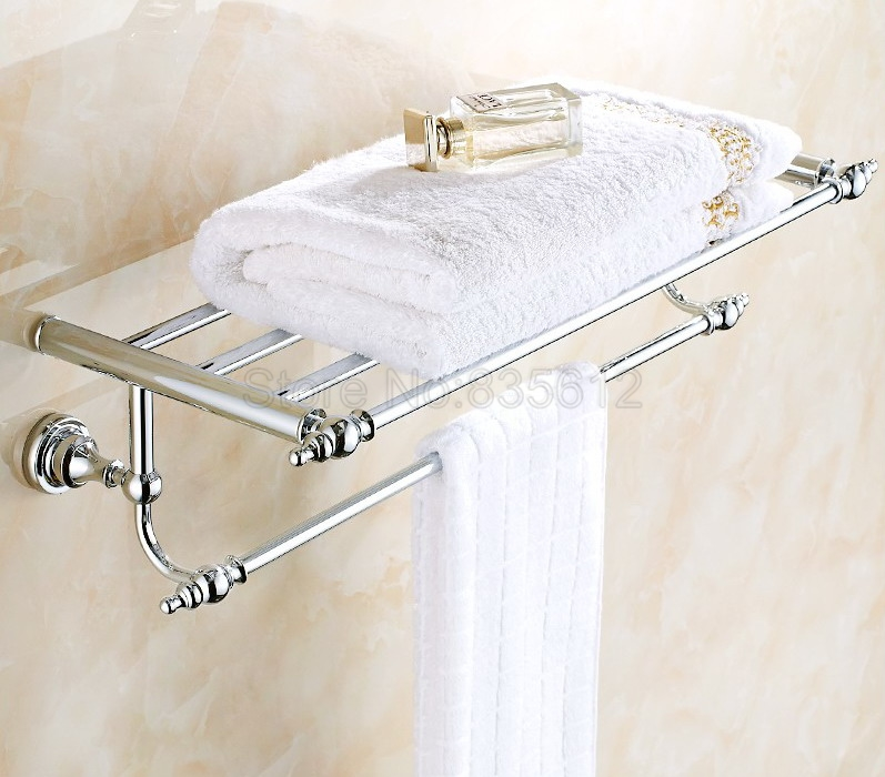 Polished Chrome Bathroom Accessory Towel Rail Holder Storage Rack Shelf Bar Wba901 bathroom accessory polished chrome wall mounted bathroom large towel rail holder storage rack shelf bar aba801