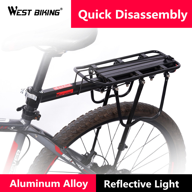 WEST BIKING Bicycle Cargo Racks Cycling Reflective Mountain Kickstand Bicycle Rack Luggage Rack Can Load 50KG for Bicycle Saddle west biking bike chain wheel 39 53t bicycle crank 170 175mm fit speed 9 mtb road bike cycling bicycle crank