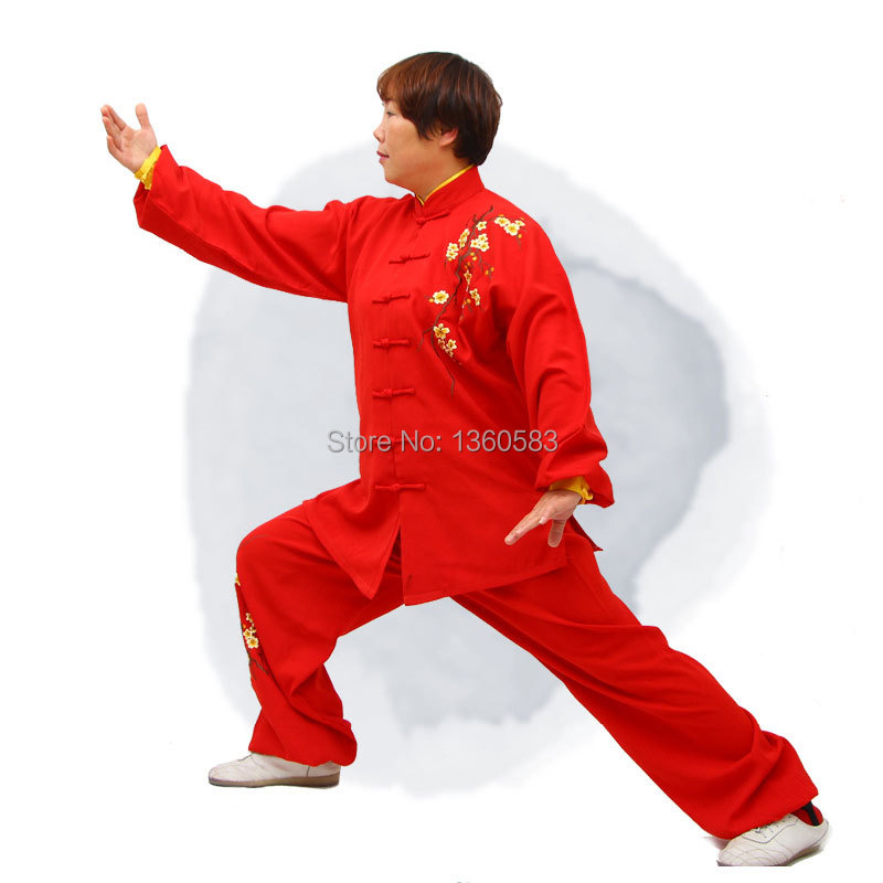 Cotton&Linen tai chi suit Martial Arts Kung Fu Wushu performance Uniform Handmade Embroidery Plum flower taiji clothing 3colors cotton linen men s yoga suits long sleeved taiji lay clothes plus size breathable meditation martial arts performance clothing
