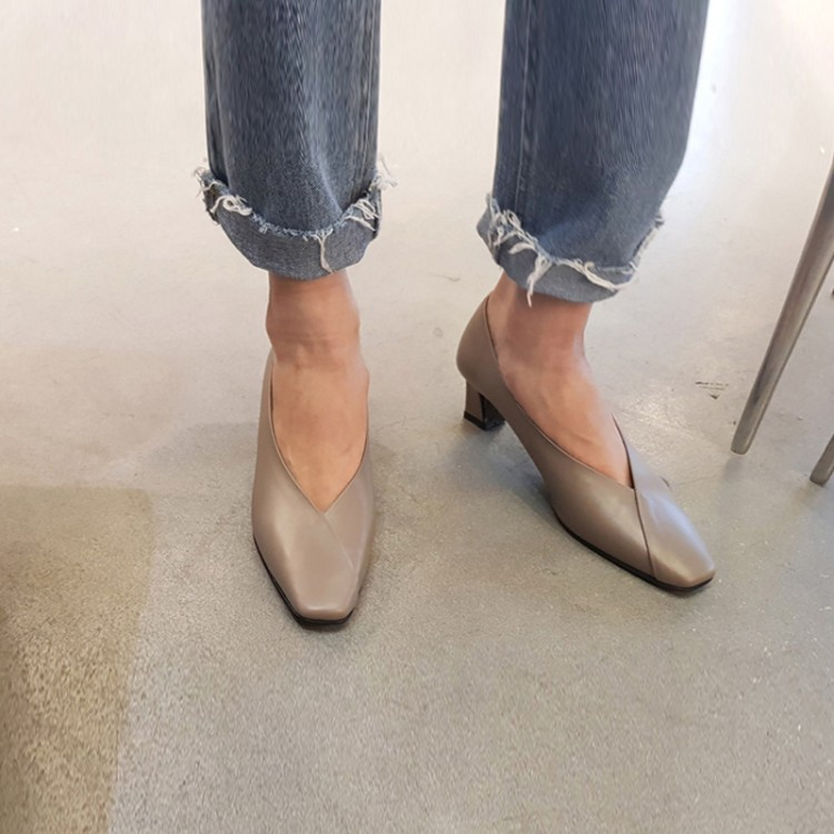 MLJUESE 2019 women pumps Soft Cow leather autumn spring gray color slip on pigskin square toe