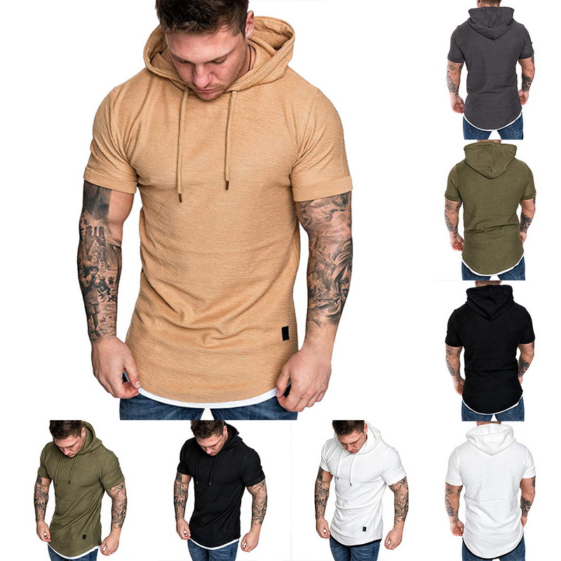 HTB1a5JLRrPpK1RjSZFFq6y5PpXaT Laamei Men's T Shirt 2019 Summer Slim Fitness Hooded Short Sleeved Tees Male Camisa Masculina T Shirt Slim Tshirt Homme 3XL