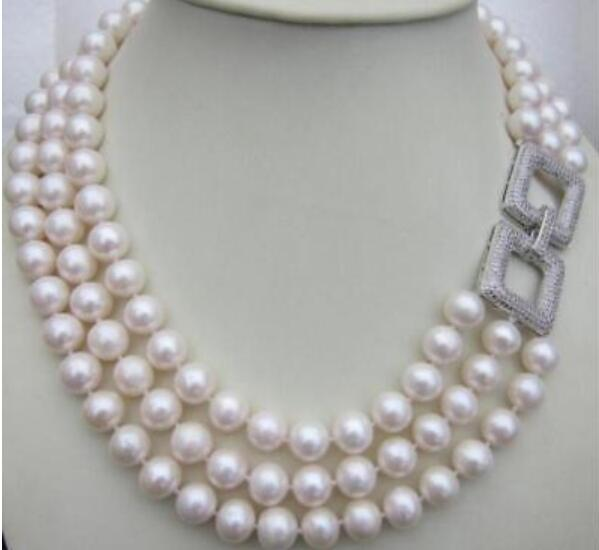 Charming <font><b>3</b></font> Row AAA natural <font><b>7</b></font>-8mm White Sea South Pearl Necklace 17-19