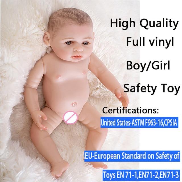 17 inch high all Silicone Toddler Vinyl Reborn Realistic Baby Doll Newborn Lifelike Handmade Toy gift Gentle Touch Children Gift