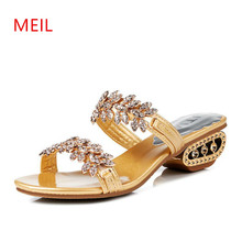 Fashion Ladies Slides Genuine Leather Woman High Heel Rhinestone Summer Shoes Elegant Women Wedge Slippers Open Toe Sandals стоимость