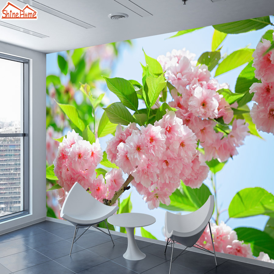 Us 132 45 Offshinehome Large Custom 3d Photo Wallpaper Peony Tree Natural Flower Nature Wallpapers For 3 D Living Room Household Wall Paper In
