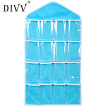My House Hot sale 16Pockets Clear Hanging Bag Socks Bra Underwear Rack Hanger Storage Organizer drop shipping Aug9