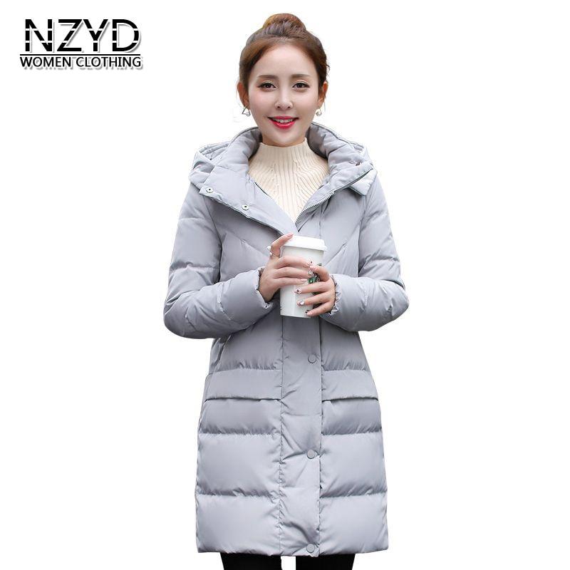 Winter Women Down Jacket 2017 New High quality Hooded Warm Medium long Coat Fashion Long sleeve Slim Big yards Coat LADIES304
