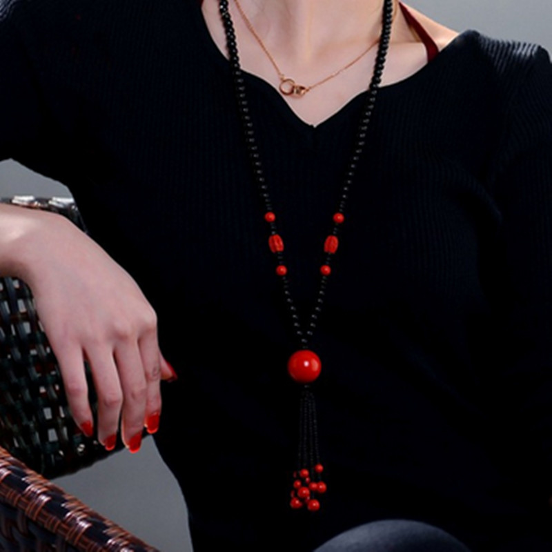 Natural Genuine Red Vermilion Necklace Carved Flower Pendant Jewelry  lucky Black Agate Sweater Chain For Women's Gift