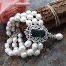 Pulsera de perlas de agua dulce de arroz blanco natural, con cierre de circonita, hecha a mano, caja de regalo