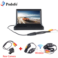 Podofo Wireless 5 Foldable Car Rear View Monitor Color LCD TFT Display Screen Night Vision For