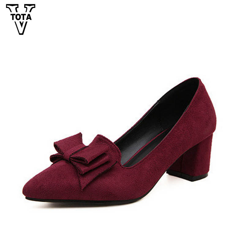 VTOTA Fashion Shoes Woman Slip-on Women Pumps Butterfly-knot High Heels Shoes Pointed Shallow Mouth Ladies Shoes Big Size X327