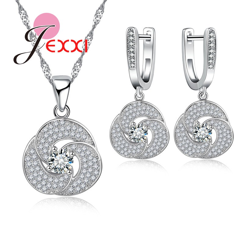 JEXXI Free Shipping Spiral Pattern Flower Shape Necklace And Earrings Set Fashion Silver Chain Rhinestone Crystal Women Jewery