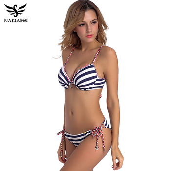 NAKIAEOI 2018 Sexy Bandage Bikini Push Up Swimwear Women Brazilian Bikini Set Bathing Suit Underwire Swimsuit Summer Swim Wear 1