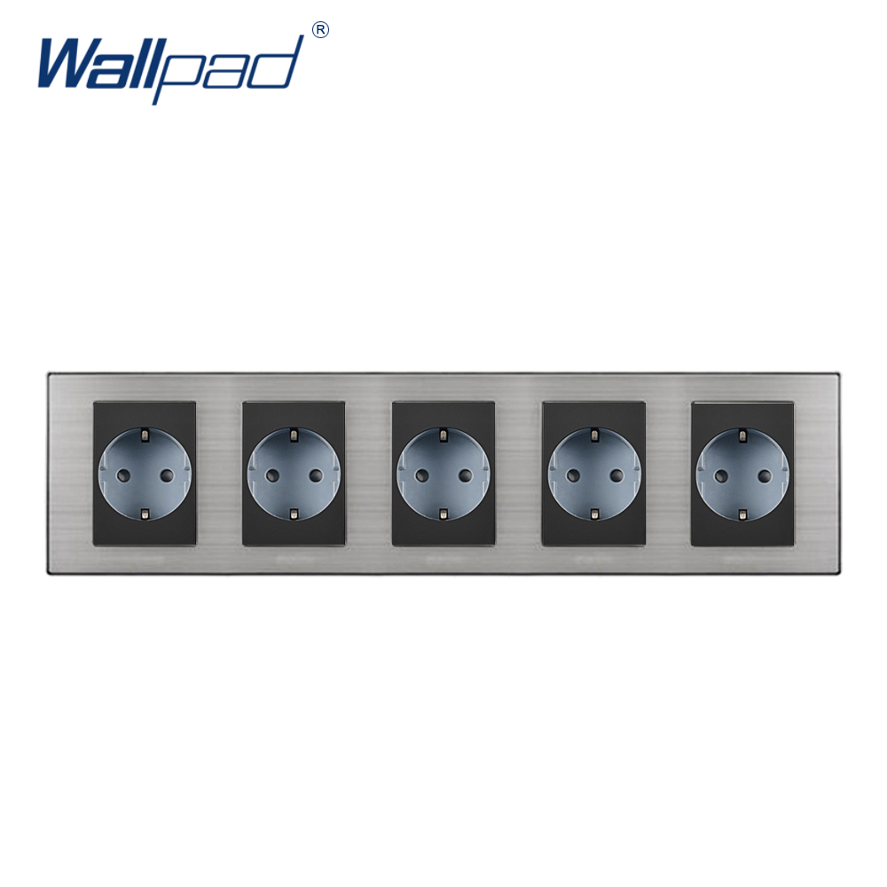 2018 Wallpad Hot Sale 5 EU Socket Schuko Luxury Wall Electric 4 Power Outlet German Standard 16A AC110~250V 382*86mm Penta Frame 15a 16a south africa socket and double ubs socket wallpad 146 86mm white glass 2 usb ports and 16a sa switched socket with led