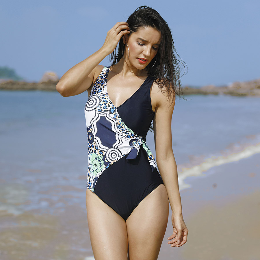 Vintage Splicing Plus Size One Piece Swimsuit Women Push Up Swimwear 2018 Bodysuit Halter Patchwork Bathing Suits Monokini S-6XL xxxl one piece swimsuit push up plus size swimwear famale 2017 black backless bodysuit summer beachwear bathing suits monokini