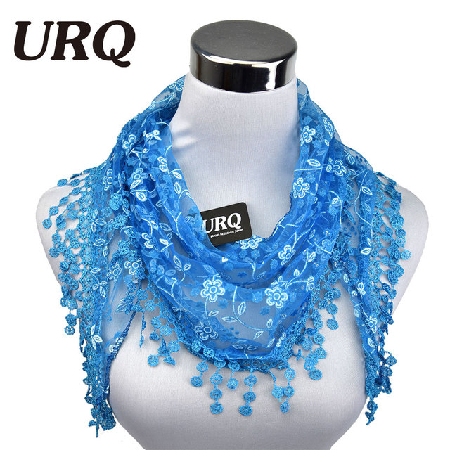 New Brand design Summer Lady Lace Scarf Tassel Sheer Metallic Women Triangle Bandage Floral scarves Shawl L10A5108