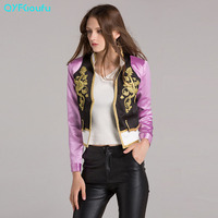 High Quality 2017 Designer Runway Embroidered Womens Jackets Casual Khaki Purple Long Sleeves Crop Top Autumn