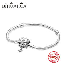 New 2009 1:1 Original Engraved Sterling Silver, High Quality Female Pandoras Basic Bracelet Luxury Suitable For Jewelry Gift(China)