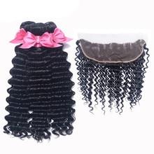 Лучший!  Deep Wave Bundles With Frontal Remy Human Hair Bundles With Closure Brazilian Hair Weave 3 Bundles With 13x4 Closure