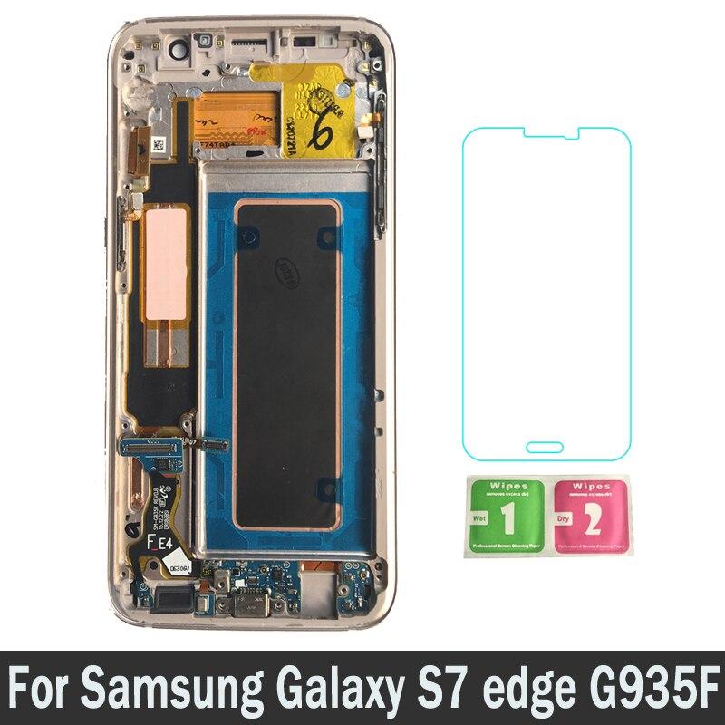 Nouveau Pièces De Rechange LCD Avec Cadre Pour Samsung Galaxy S7 bord G935F G935FD G935W8 LCD Écran D'affichage Tactile Digitizer Assemblée