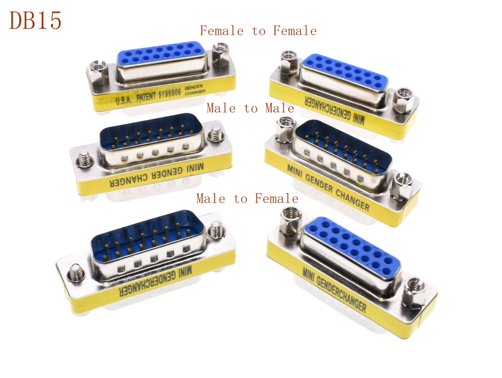 DB15 MINI Gender Changer adapter RS232 Com D-Sub to <font><b>Male</b></font> <font><b>Female</b></font> VGA plug <font><b>connector</b></font> <font><b>15pin</b></font> image