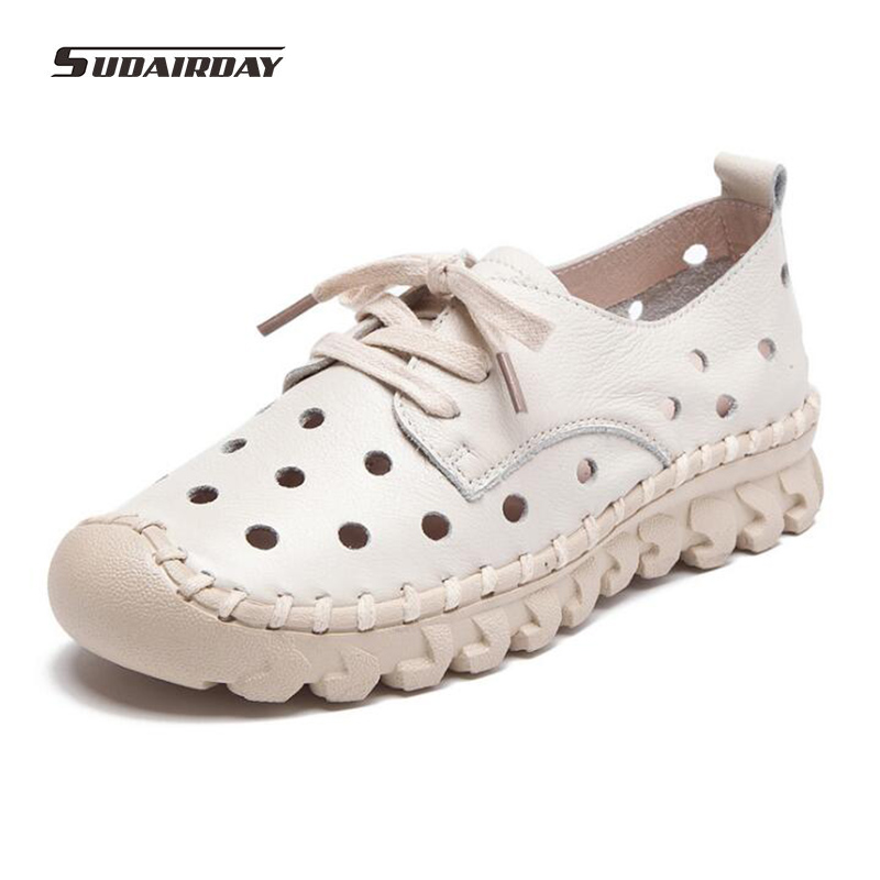 2017 new breathable soft women flats genuine leather ladies loafers Lace Up women shoes Handmade Woman Driving Shoes 5 Color 2018 new summer handmade breathable women s shoes genuine leather female hole loafers soft outsole casual shoes flats