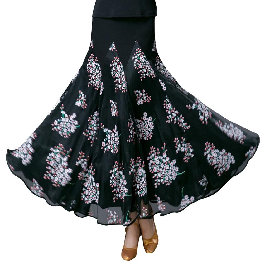 Ballroom Dance Skirt Long Length Spread hem Elegant Modern Dance Maxi Skirt Women Flamenco Latin Tango