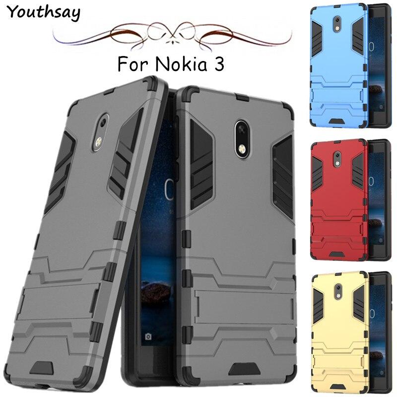 Para capa nokia 3 caso youthsay robô de luxo armadura pc + borracha dura volta caso do telefone para nokia 3 capa para nokia 3 escudo coque