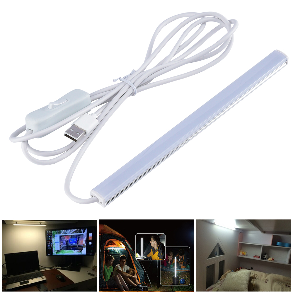 USB LED Table Lamp Portable Night Light Beside Reading Book Work Desk Lamp 2835 5V LED Rigid Strip Bar Light with 2m Swith Cable