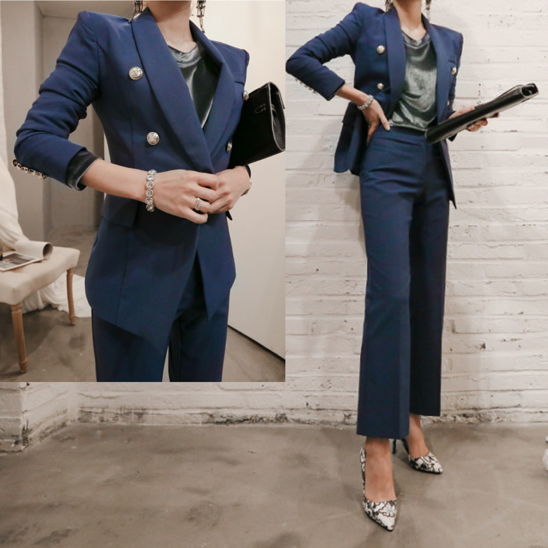 Women 39 s suit female new style pure color Slim temperament flared trousers Office ladies OL professional uniforms piece suit in Women 39 s Sets from Women 39 s Clothing