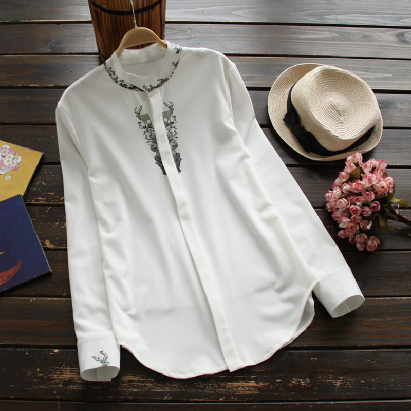 YSMILE Y Casual Print Chiffon Shirt Women Stand Deer White Blouse Female Slim Long Sleeve Top Spring Autumn Women Clothes YK8357