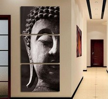 HOME DECOR High Precision Print Canvas POSTER AND PRINT Set of 3 quiet Buddha head Stretched CANVA Ready to Hang