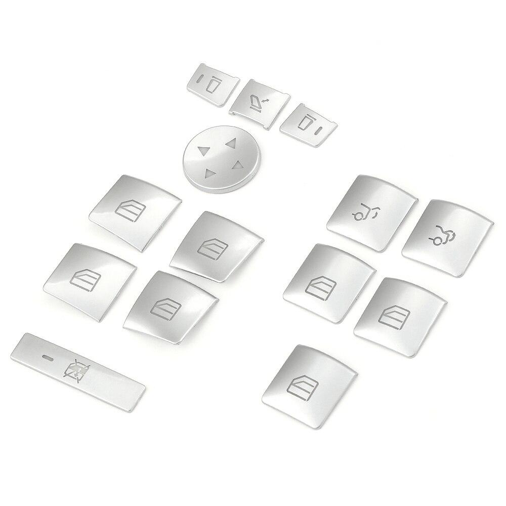 QDLK 14pcs Car Door Armrest Window Lift Button Cover Trim Styling Sticker For Benz A/B/C(W204)/E(W212)/GLA /CLA/ GLK/ GL class for benz cla c117 w117 inner door window switch button cover 2014 2017 14pcs