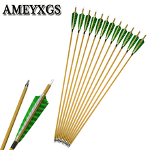 6/12pcs Spine500 Pure Carbon Arrowhead 5inch Turkey Feather Archery ID 6.2mm Compound Bow Recurve Shooting Accessories