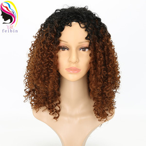 Image 3 - Feibin Short Afro Wigs for Black Women Kinky Curly Ombre Blonde Nature Black Synthetic Wigs African 14inches