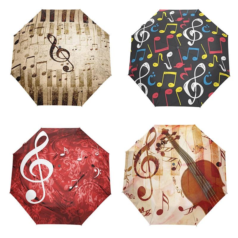 Creative Music Painting Umbrella Automatic Women Folding Umbrellas Female 8k Pongee Auto Open Close Travel Umbrella