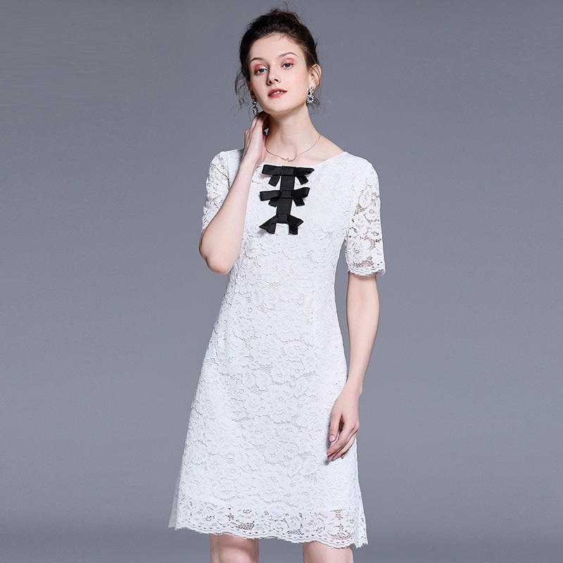 2019 New Summer Fashion Ladies Elegant Bow lace dress short sleeve Cultivated party dress Casual vestidos