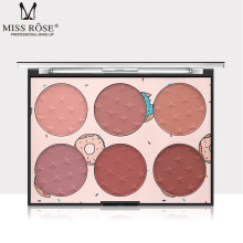 MISS ROSE Six-color Blush Natural Lasting Skin-friendly Makeup Repair Capacity Cream Pallete