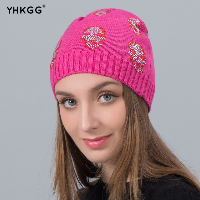 75a440d3d YHKGG 2018 New Skull Rhinestones Diamond Cashmere Hat Casual High Quality  Vogue Winter Hats Beanies Cap-in Skullies & Beanies from Women's Clothing &  ...