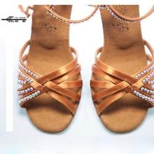 New Gilrs Nude Satin Crystal Rhinestone Ballroom SALSA Latin Shoes 5 5cm 7 5cm 8 5cm