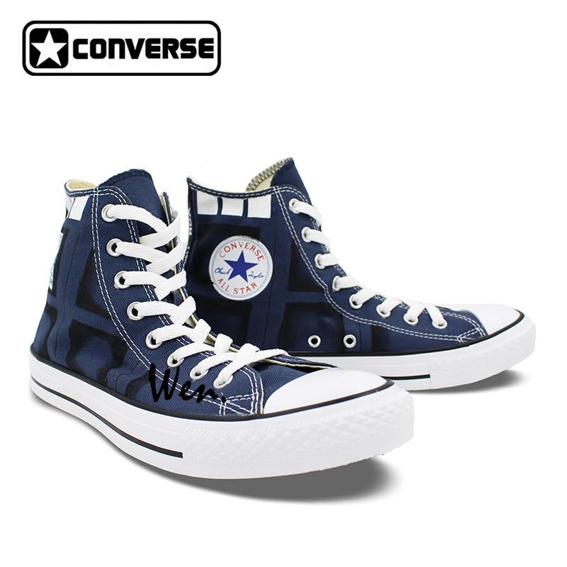 dca53db35add buy classic blue converse all star man woman hand drawn shoes police box custom  design hand