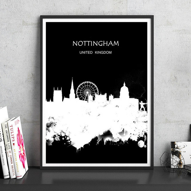 NOTTINGHAM UK The Global City Watercolor Painting Abstract Print Poster Living Room House Decor Cafe Bar 42x30cm Wall Sticker