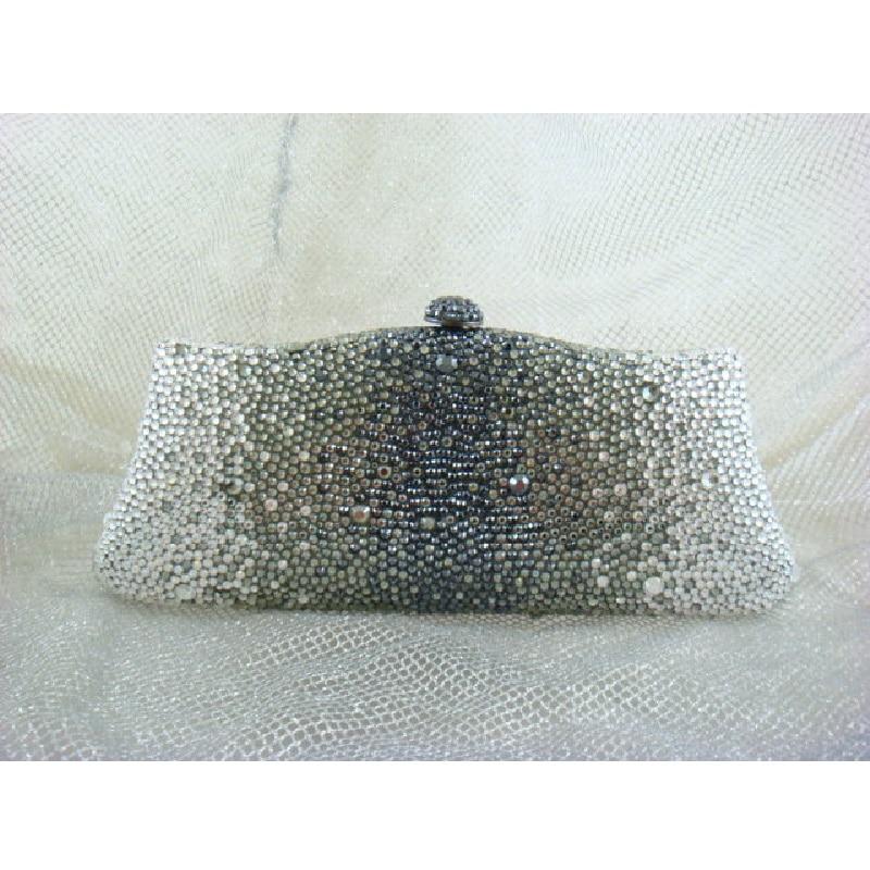 ФОТО L7788ZG Grey Crystal in Gradual change effect Bridal Party Night Metal Evening purse clutch bag case box handbag