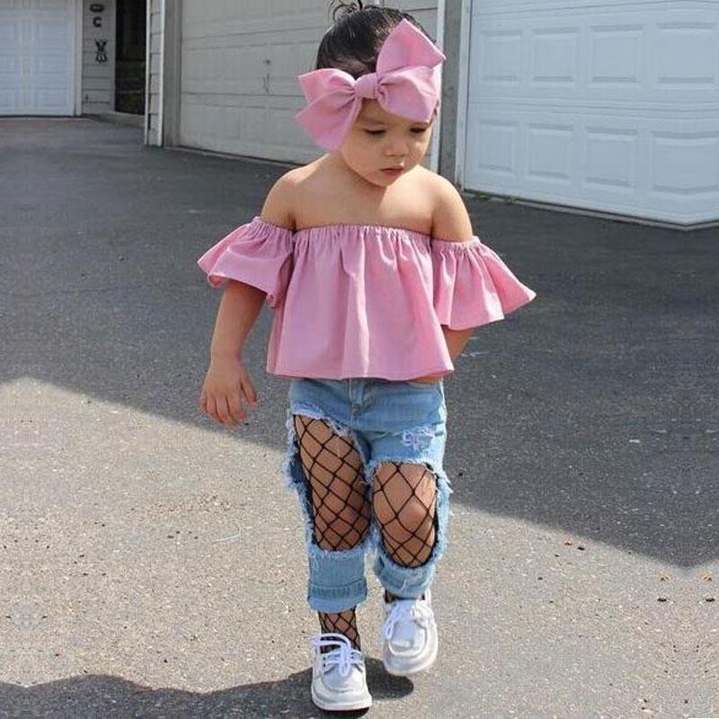 JIOROMY 2019 INS Moda Kız Takım Elbise Üstleri + Kot + Kafa 3 - Çocuk Giyim - Fotoğraf 2