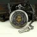 New Classical Men's Pocket Watch Necklace Mechanical Business Round Analog Roman Numerals Hollow Carving Bronze