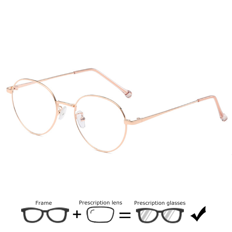 SHOWYES Prescription Glasses Women Oval Myopia Ultralight Frame with Lenses